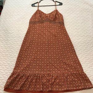 Ann Taylor LOFT Orange and Brown Floral Dress